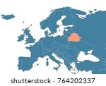 belarus on the europe map | Shutterstock . vector #764202337