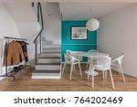 modern home interior with round ... | Shutterstock . vector #764202469
