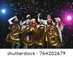 office christmas party. group... | Shutterstock . vector #764202679