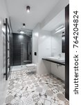 black and white bathroom with...   Shutterstock . vector #764204824