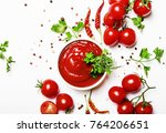 tomato spicy ketchup sauce with ... | Shutterstock . vector #764206651