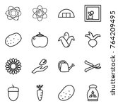 thin line icon set   atom ... | Shutterstock .eps vector #764209495