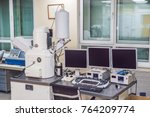 scanning electron microscope... | Shutterstock . vector #764209774
