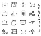 thin line icon set   shop ... | Shutterstock .eps vector #764210365