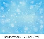 realistic falling snow on blue...   Shutterstock .eps vector #764210791