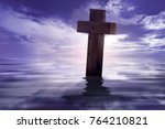 christian cross with reflected...   Shutterstock . vector #764210821