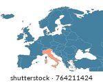 italy on the map of europe | Shutterstock . vector #764211424