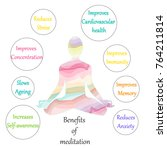benefits of meditation poster.... | Shutterstock .eps vector #764211814