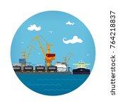 cargo sea port icon  loading or ... | Shutterstock .eps vector #764218837