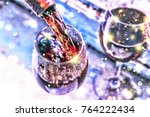 pouring wine. christmas wine.... | Shutterstock . vector #764222434