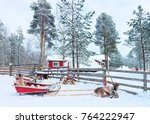 reindeer with sledge in forest... | Shutterstock . vector #764222947
