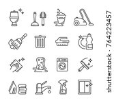 cleaning related icons  thin... | Shutterstock .eps vector #764223457