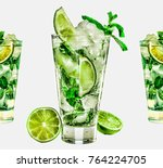 mojito cocktail isolated on... | Shutterstock . vector #764224705