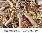 christmas dinner. falling... | Shutterstock . vector #764225359