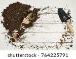 gardening tools top view on... | Shutterstock . vector #764225791
