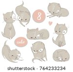set with cute cartoon kitten | Shutterstock .eps vector #764233234
