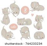 Stock vector set with cute cartoon kitten 764233234