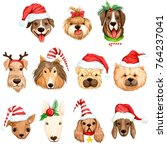 cute funny christmas dog in... | Shutterstock . vector #764237041