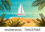 blue evening tropical sea  sand ... | Shutterstock .eps vector #764237065