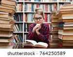teenager girl reading a book in ... | Shutterstock . vector #764250589