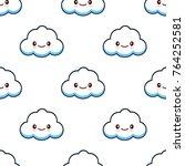 cute cloud characters kawaii... | Shutterstock . vector #764252581