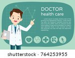 doctor presentation for banner... | Shutterstock .eps vector #764253955