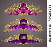 set of golden royal shields... | Shutterstock .eps vector #764256181