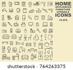 linear icons of furniture ... | Shutterstock .eps vector #764263375