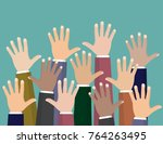 raised up hands. volunteering... | Shutterstock .eps vector #764263495