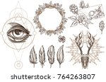 arrows and flowers. a set of... | Shutterstock .eps vector #764263807