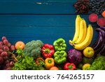lat lay of fresh  fruits and... | Shutterstock . vector #764265157