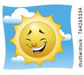 a laughing cartoon sun. against ... | Shutterstock .eps vector #764265334