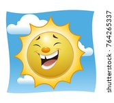 a laughing cartoon sun. against ... | Shutterstock .eps vector #764265337