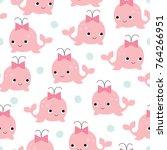 seamless whale girl pattern... | Shutterstock .eps vector #764266951