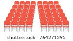 group of red plastic chairs... | Shutterstock .eps vector #764271295