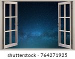open window with a view of the...   Shutterstock . vector #764271925