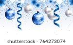 festive christmas decoration... | Shutterstock .eps vector #764273074