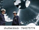 industry workers in front of...   Shutterstock . vector #764275774