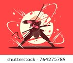 japanese battle samurai with... | Shutterstock .eps vector #764275789