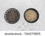 two bowls with poppy seeds one... | Shutterstock . vector #764275855