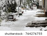 winter. uncleaned snowy  icy... | Shutterstock . vector #764276755