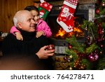 fireplace and christmas tree ... | Shutterstock . vector #764278471