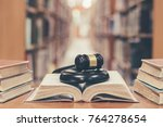 old book in library with judge... | Shutterstock . vector #764278654