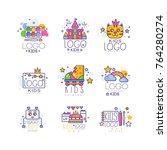 kids line logo set. paint... | Shutterstock .eps vector #764280274
