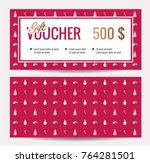 christmas gift voucher coupon...   Shutterstock .eps vector #764281501