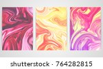three backgrounds with marbling.... | Shutterstock .eps vector #764282815