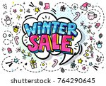 winter sale message in pop art... | Shutterstock .eps vector #764290645