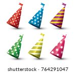 party hat isolated set on white ... | Shutterstock .eps vector #764291047