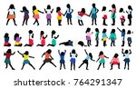 silhouettes of children ... | Shutterstock .eps vector #764291347