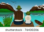 fishing lessons with father and ...   Shutterstock .eps vector #76430206